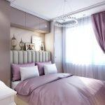 Фиолетовый тон в спальне