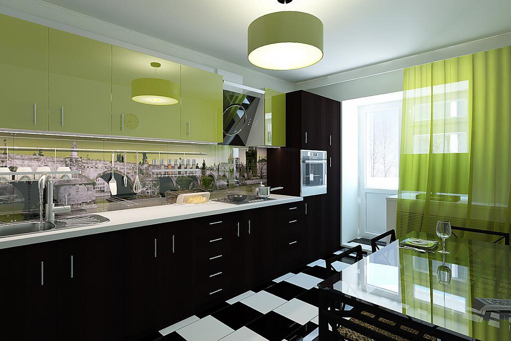Зеленый текстиль на кухне