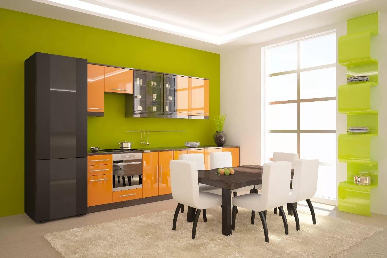 Зелено-оранжевая кухня