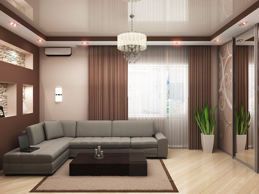 Прямолинейный двухуровневый потолок
