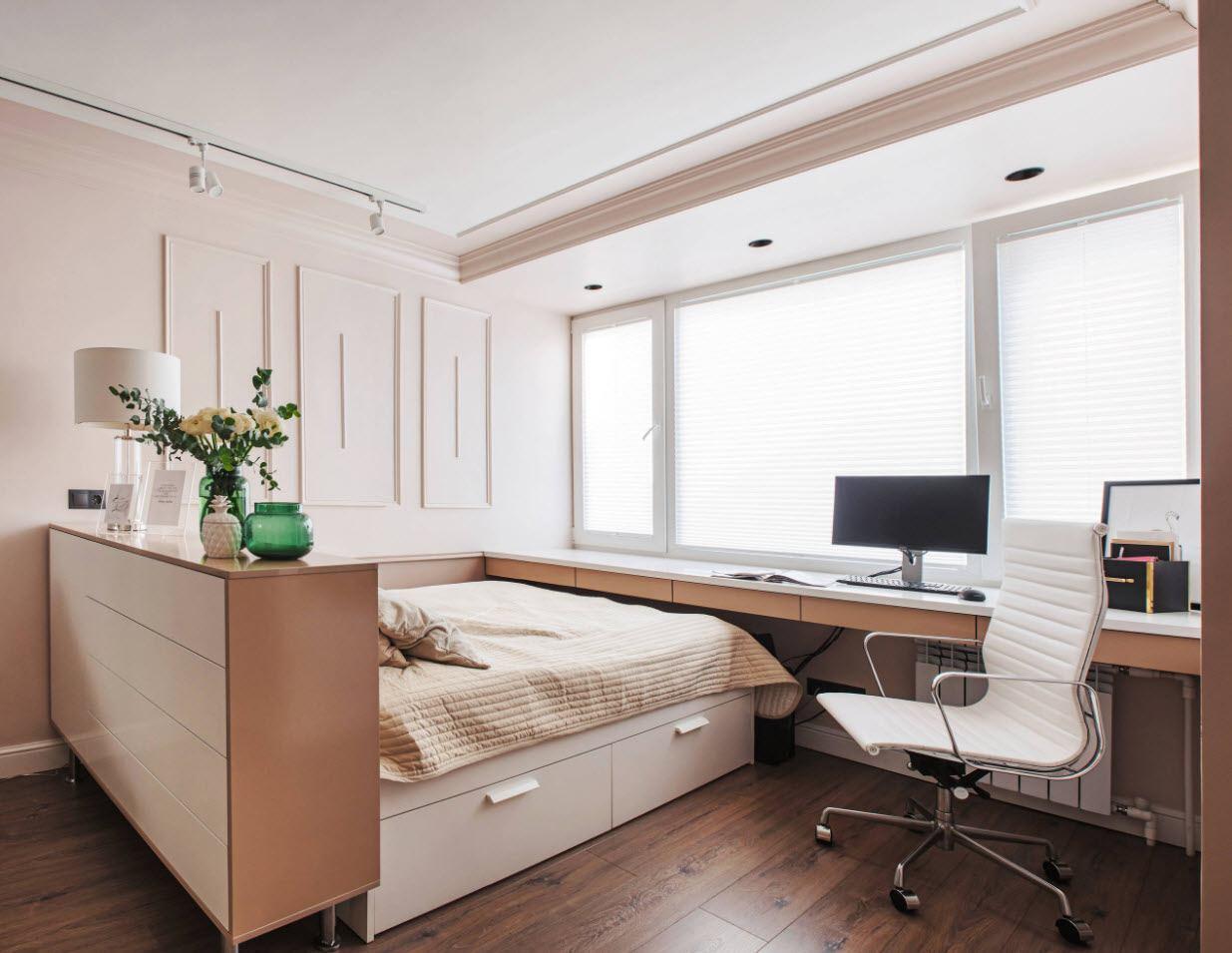 Обустройство рабочей зоны в спальне-гостиной