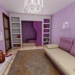 Гостиная спальня зонирование шторами
