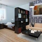 Стеллаж между спальней и гостиной