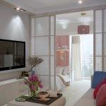 Зонирование однокомнатной квартиры перегородкой