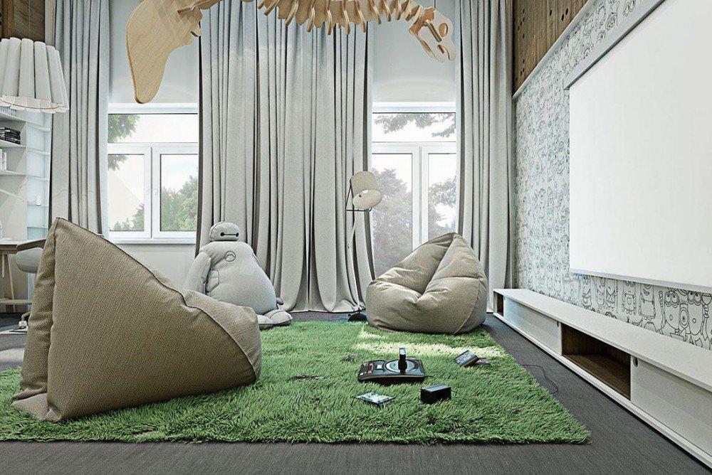 Кресла-мешки в гостиной
