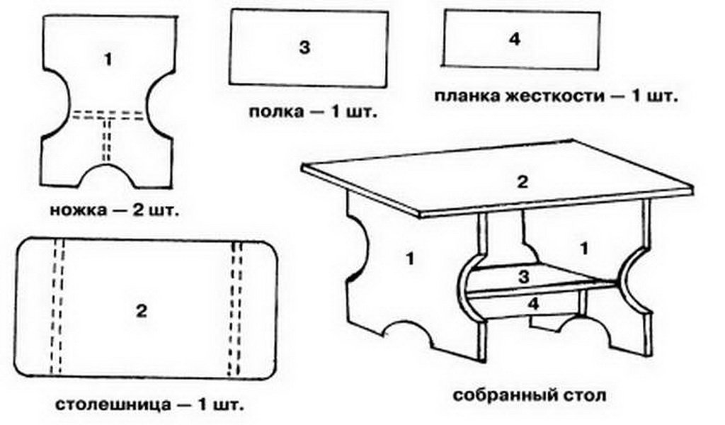 Чертеж стола из картона