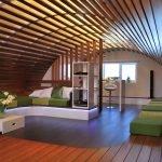 Круглый потолок в гостиной