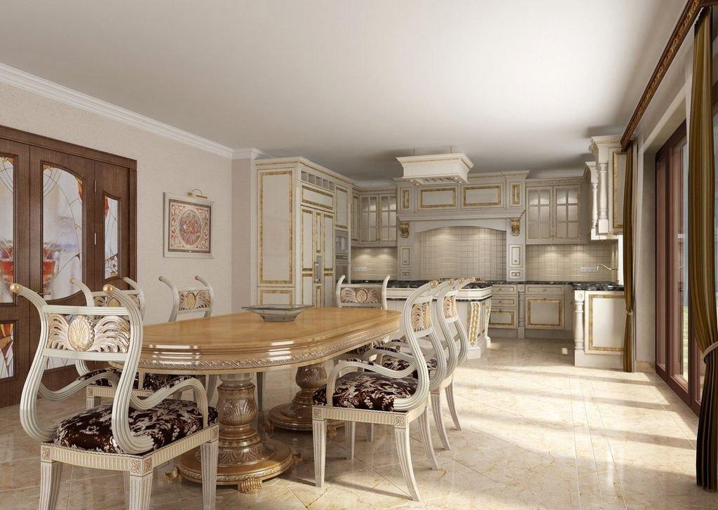Белый потолок в интерьере кухни