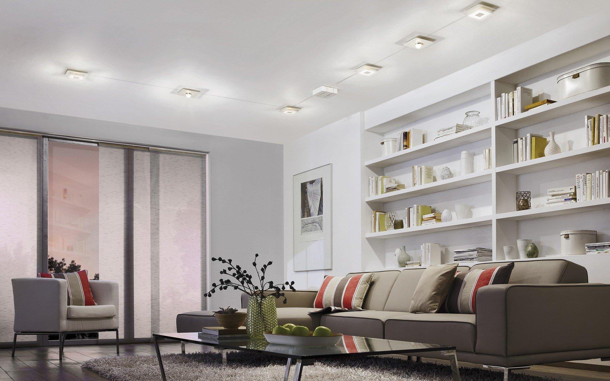 Точечные светильники для белого потолка
