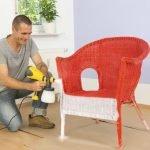 Покраска кресла краскопультом