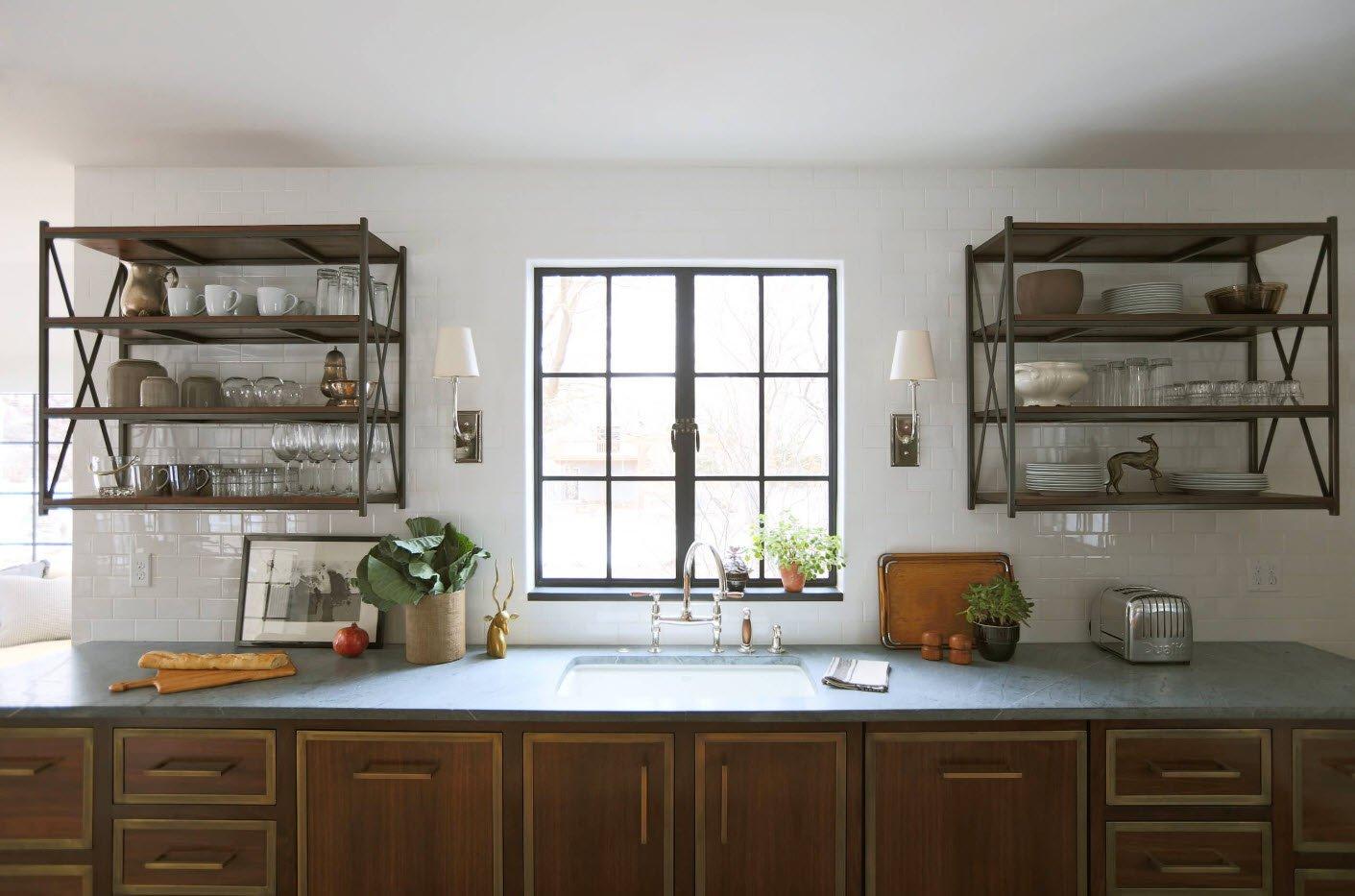 полки вместо подвесных шкафов на кухне фото сам
