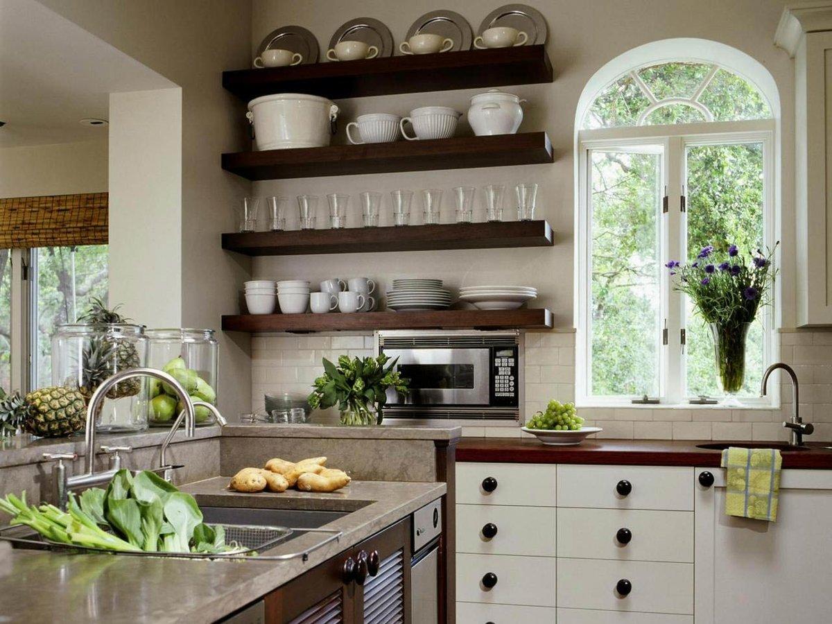 самые красивые кухни с полками фото сам