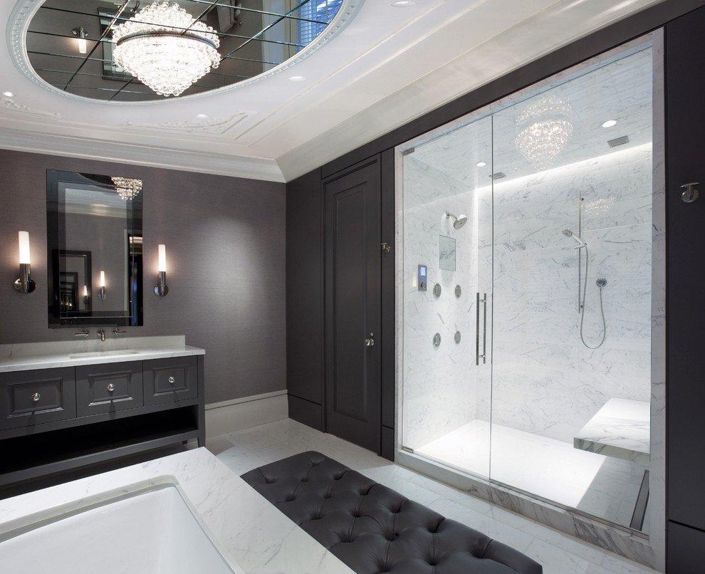 Многоуровневый потолок в ванной