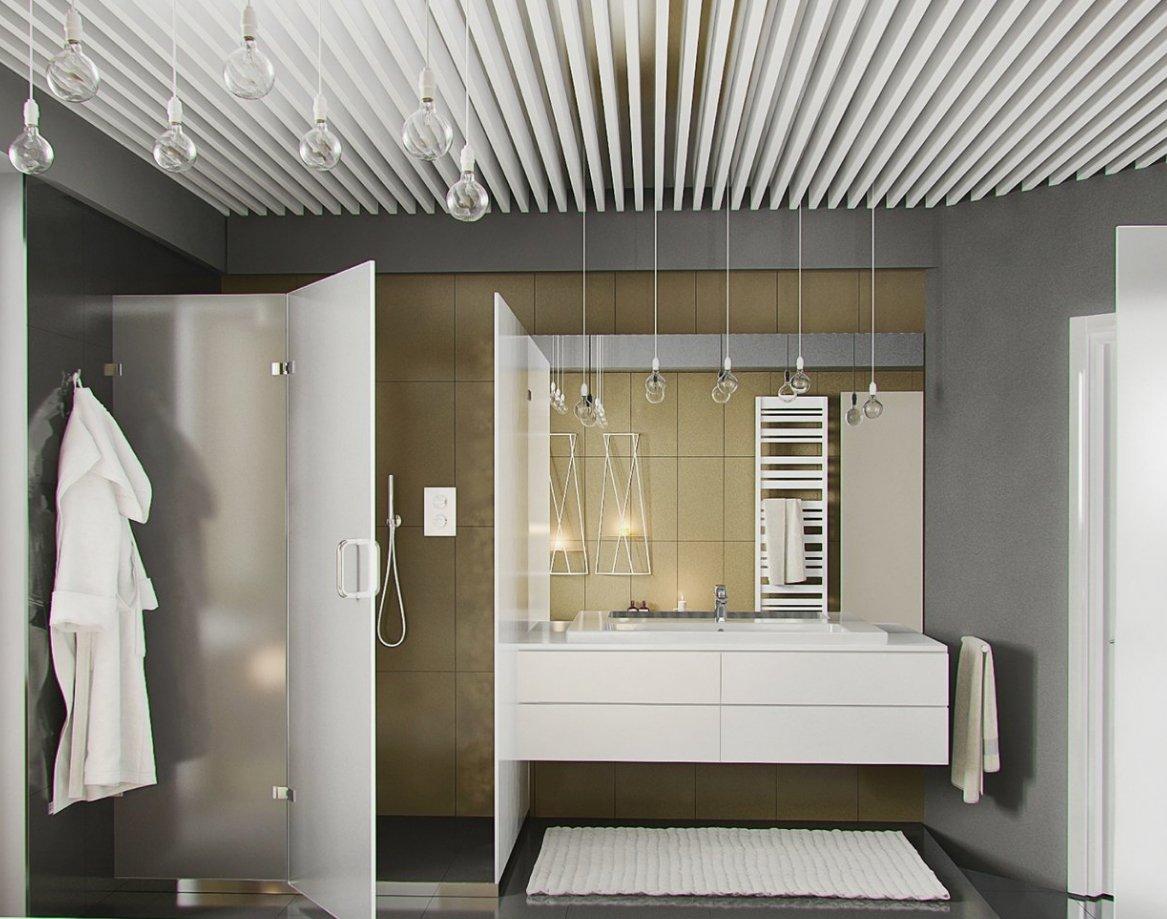 Ванная с реечным потолком