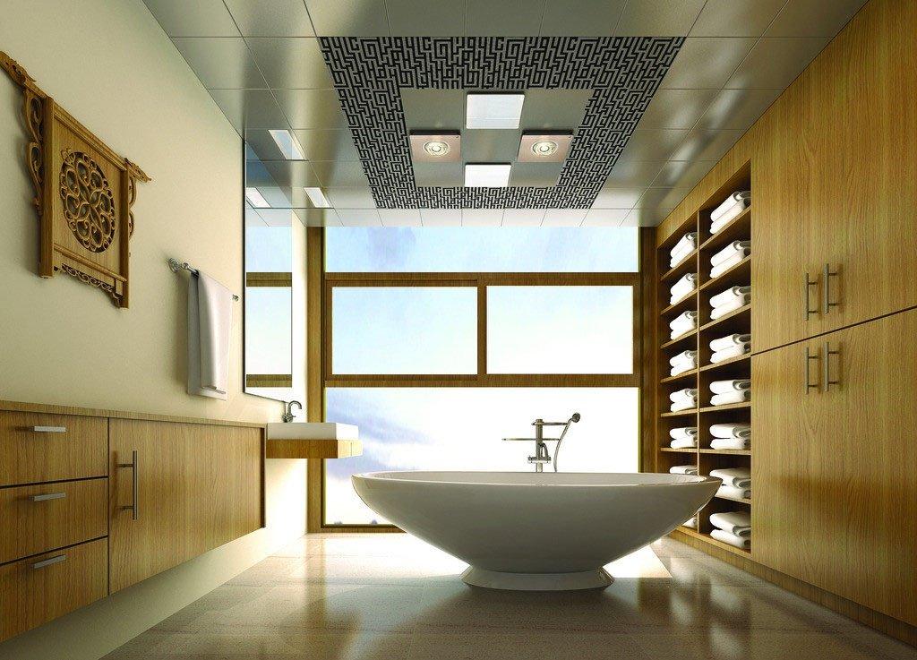 Обои на потолок в ванной
