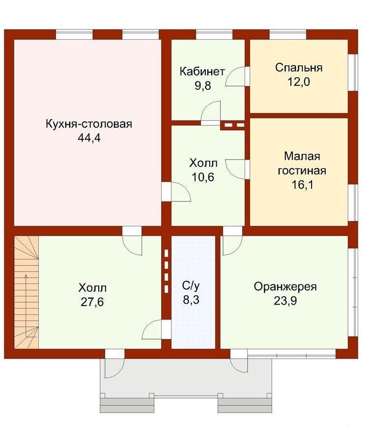 Проект дома 8 на 8 с пристройкой