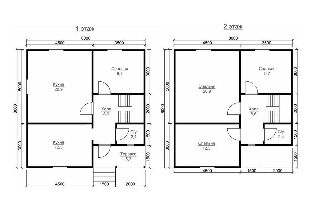 Планировка комнат в доме 8 на 8