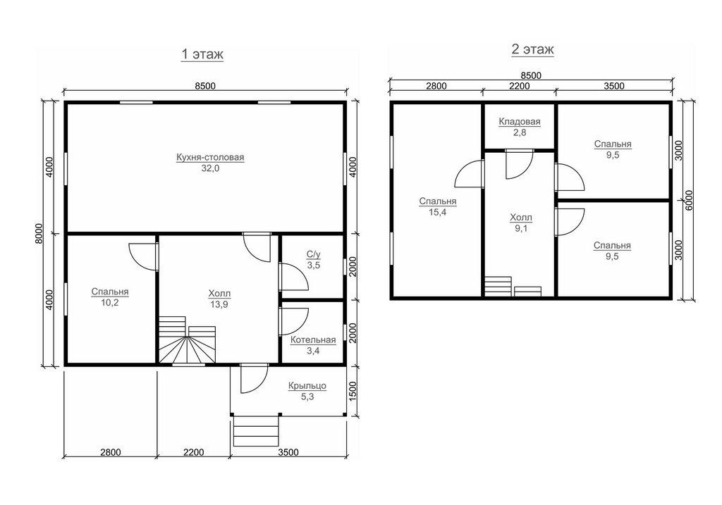 Современный проект дома 8 на 8