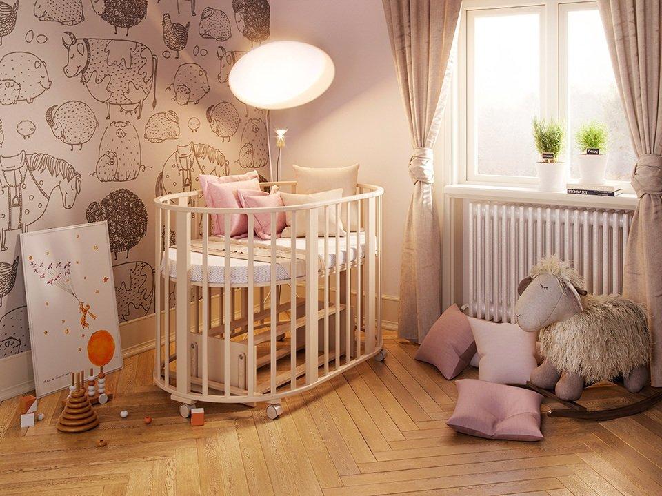Интерьер с детской кроваткой