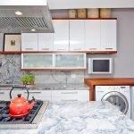 Расположение стиральной машинки на кухне