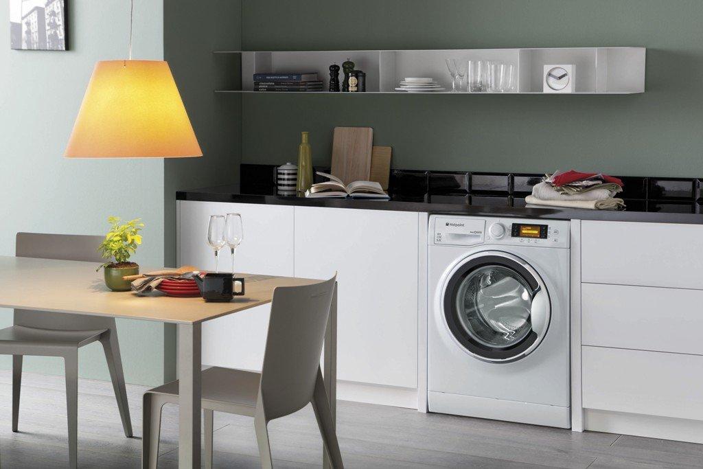 Интерьер кухни со стиральной машинкой