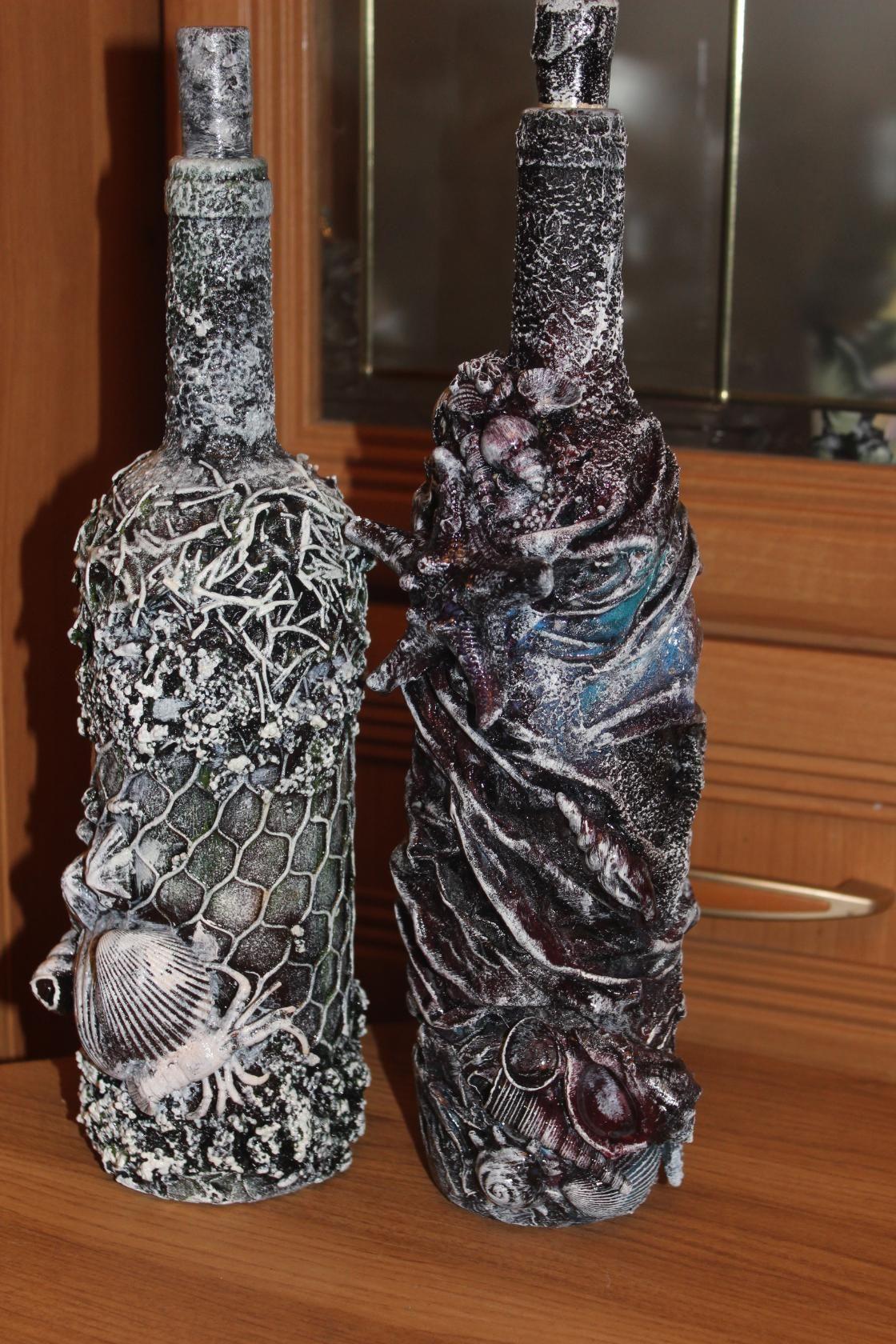 Декор бутылок колготками