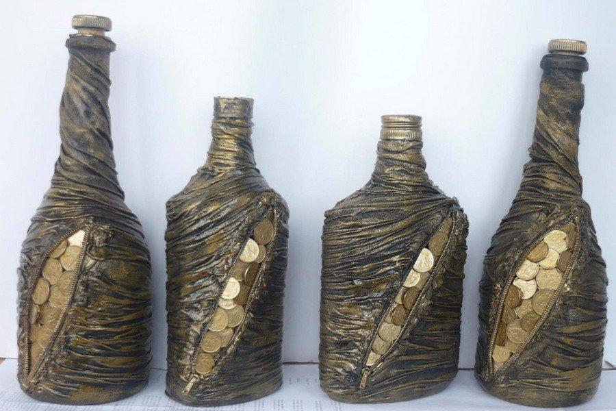 Декорирование бутылок колготками