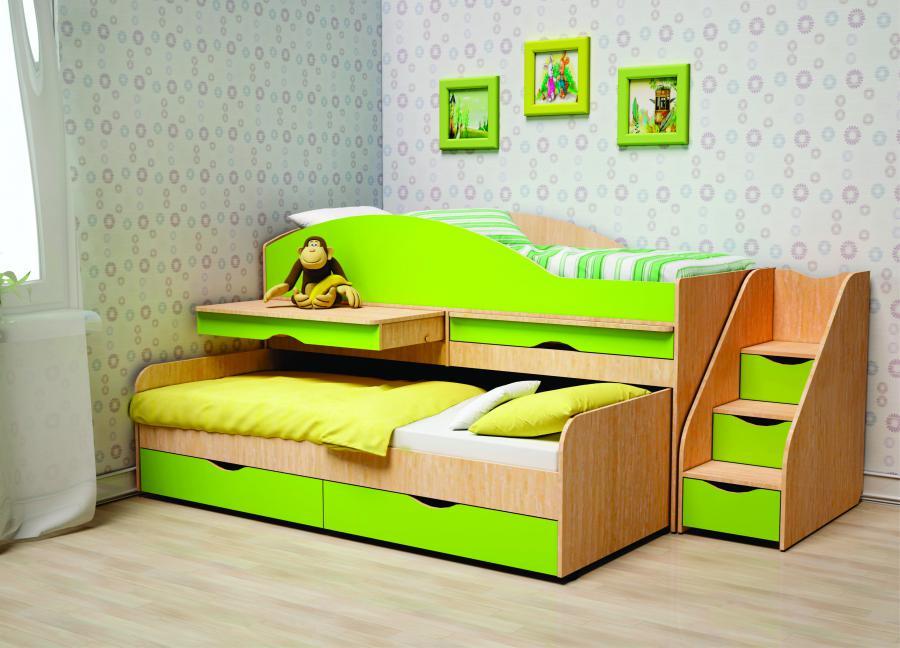 Двухъярусная кровать с выкатным механизмом
