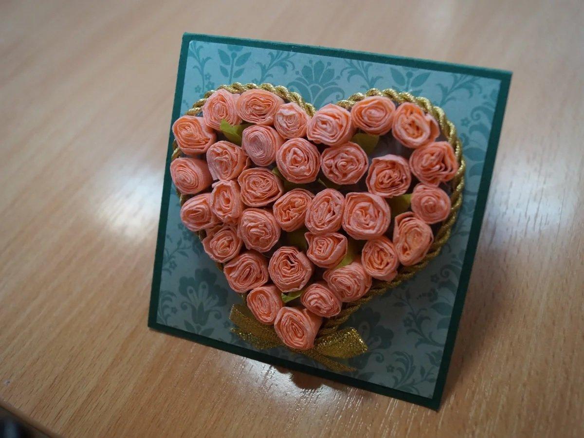Открытки с розами из бумаги