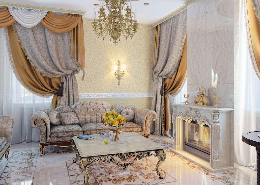 изысканная гостиная в классическом стиле фото