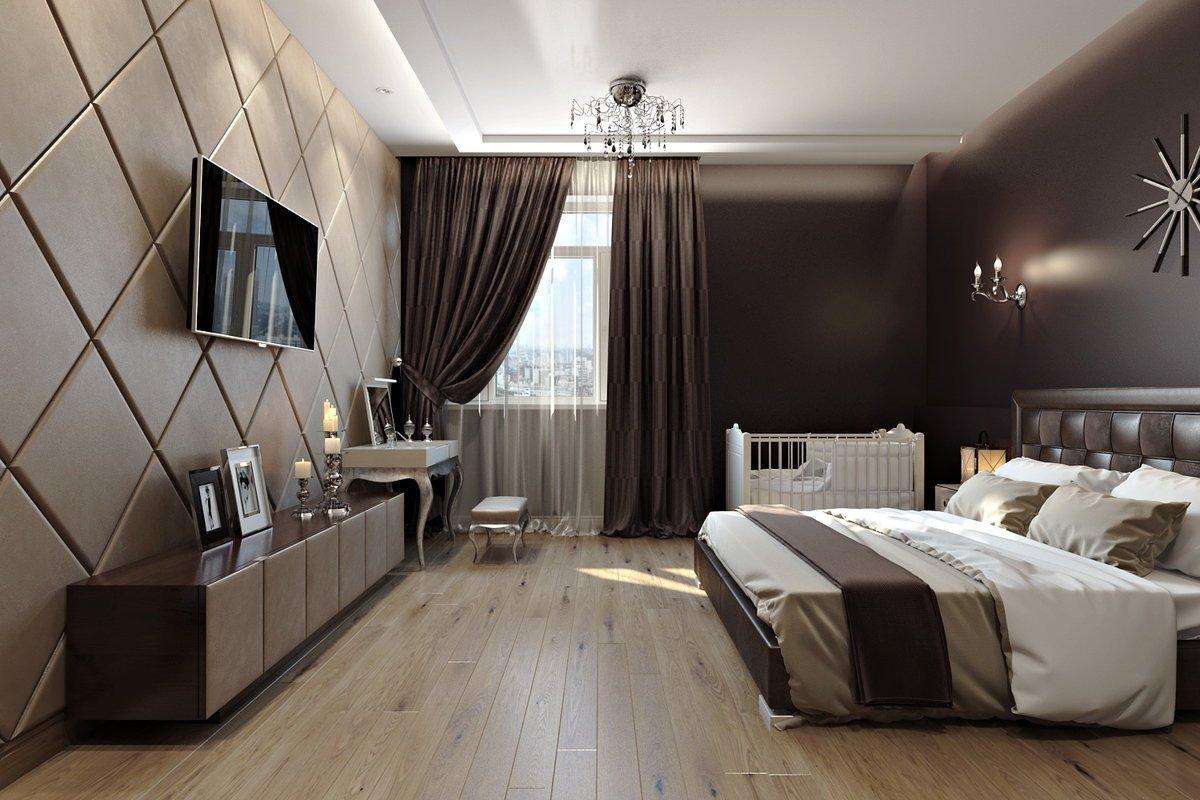 Коричневый в интерьере спальни
