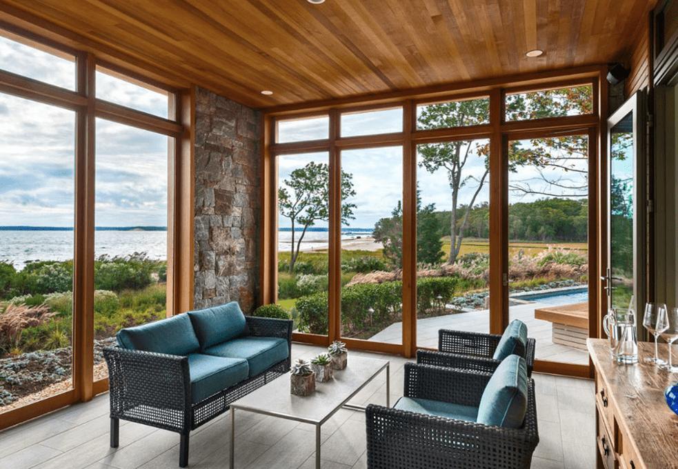 Панорамные окна в частном доме: плюсы и минусы +50 фото