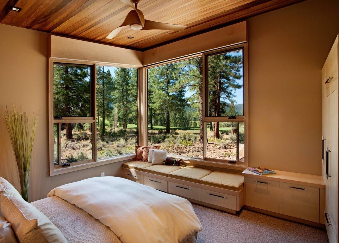 большое рабочее фото домов с окнами в пол линии брака руке