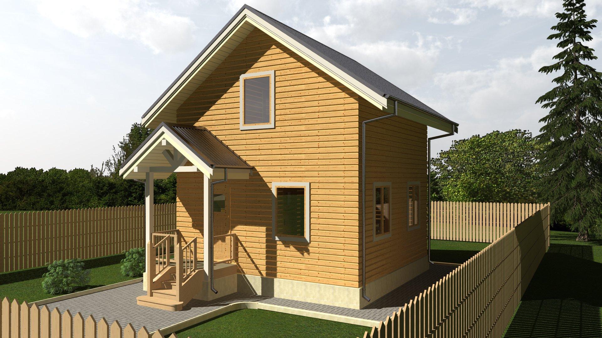 Дачный дом с крыльцом