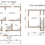 Планировка дома 6 на 6 с мансардой