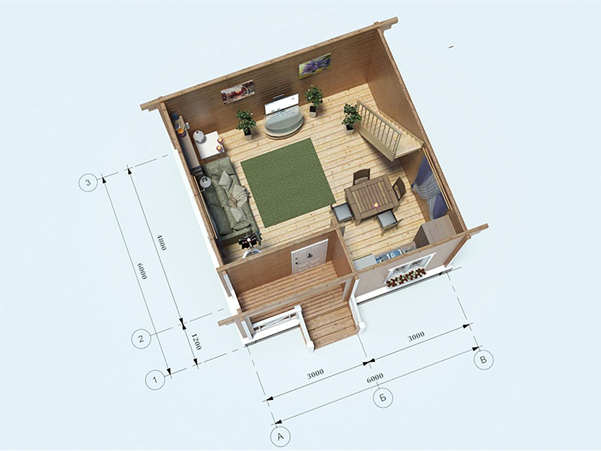 План первого этажа для дома 6 на 6