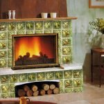 Зеленая плитка для камина