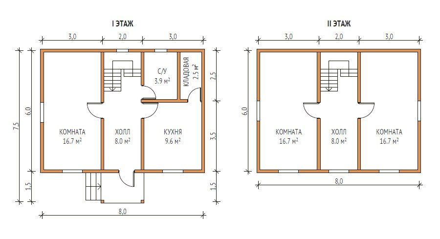 Проект двухэтажного дома 6 на 8
