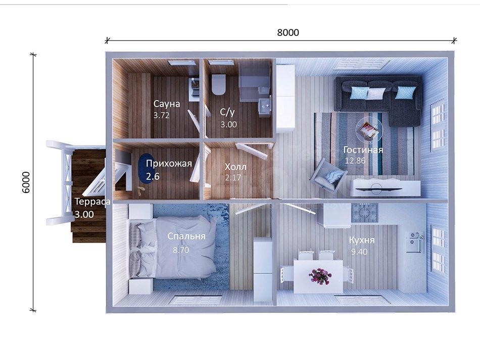 Площадь комнат в доме 6 на 8