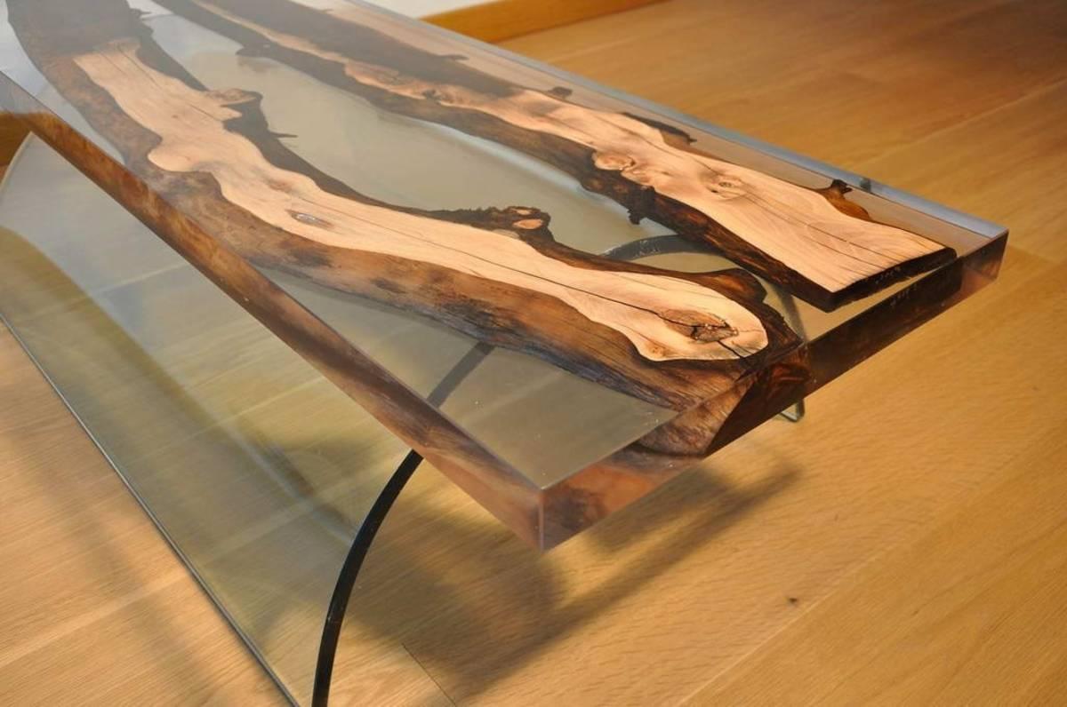 Столешница из эпоксидной смолы без опорной поверхности
