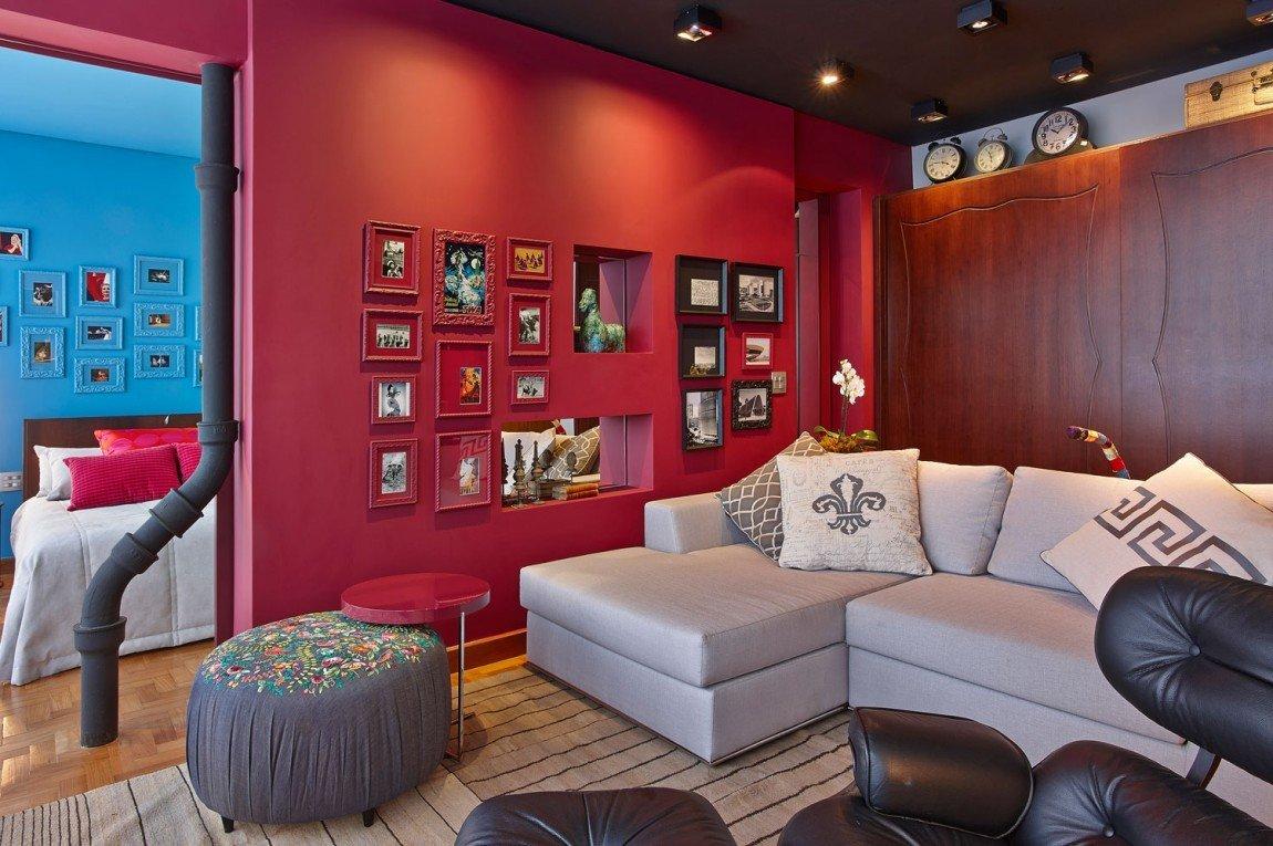 Стены яркого цвета в интерьере