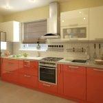 Однорядная расстановка кухонной мебели