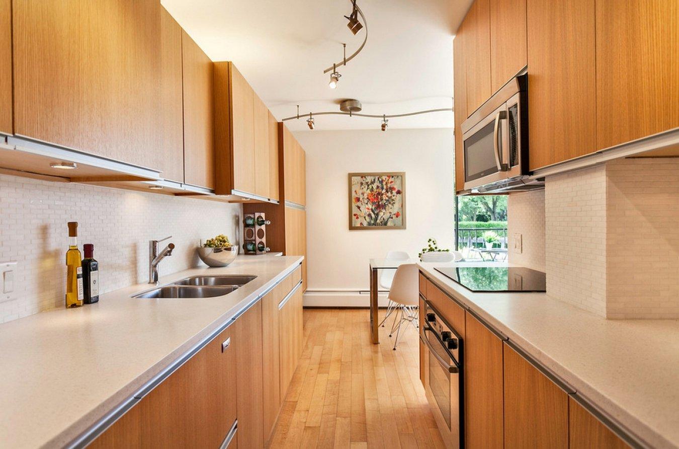 два дизайн узких кухонь фото покупки интернете всегда