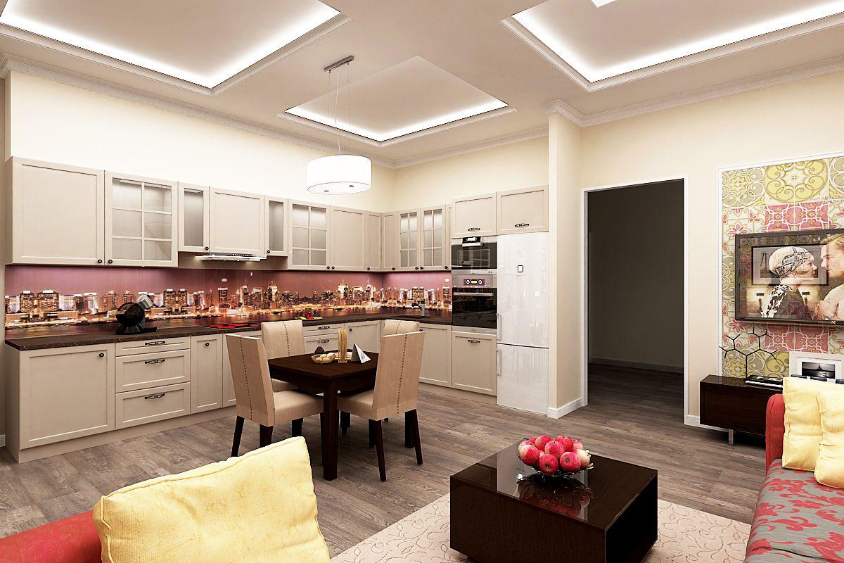 Картинки кухня-гостиная прямоугольная