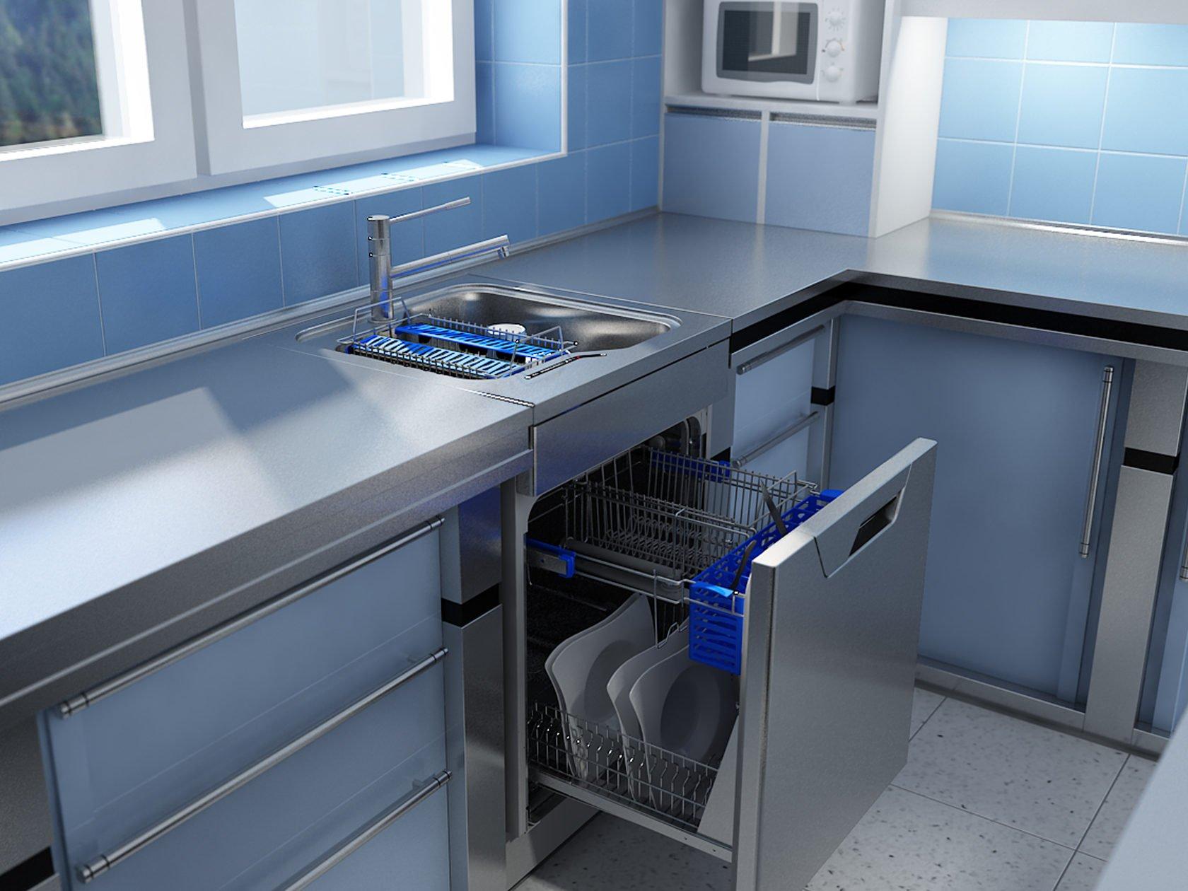 Маленькая узкая посудомоечная машина под раковину