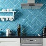 Синий фартук для кухни