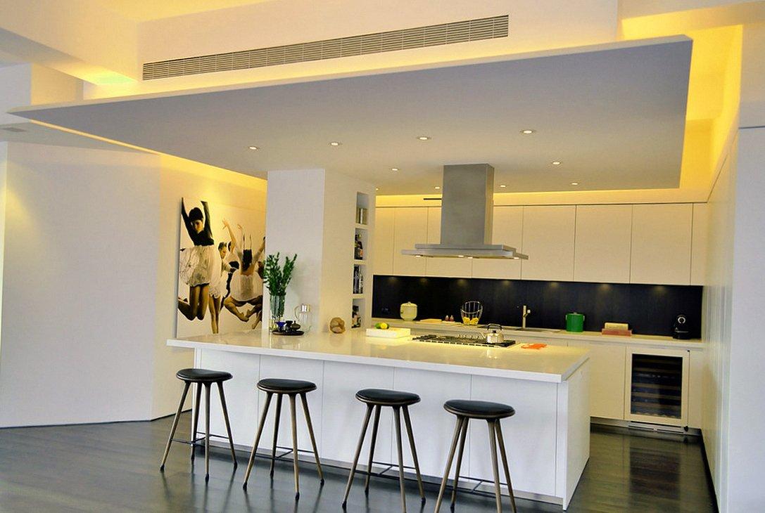 Освещение многоуровневого потолка на кухне