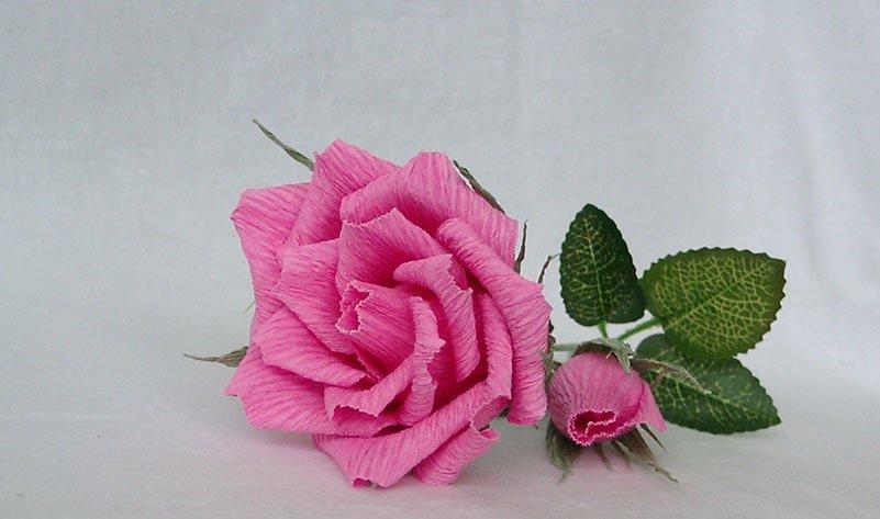 Нежная роза из гофробумаги