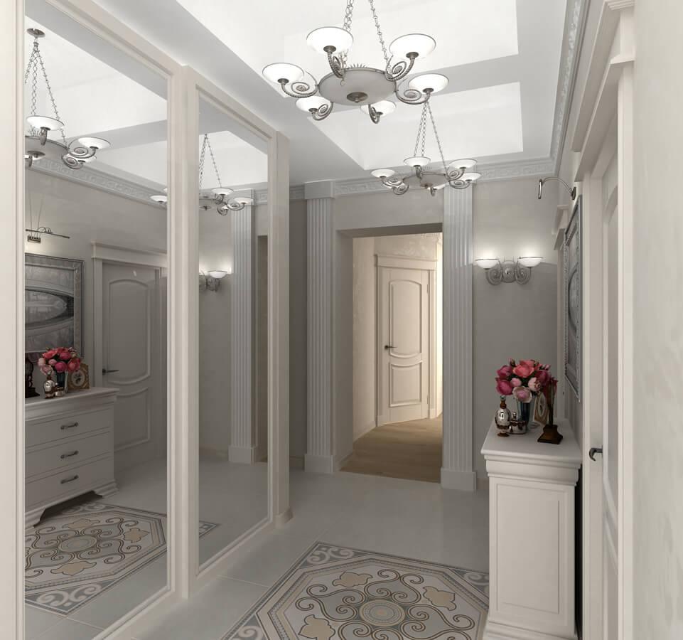 Большие зеркала в коридоре