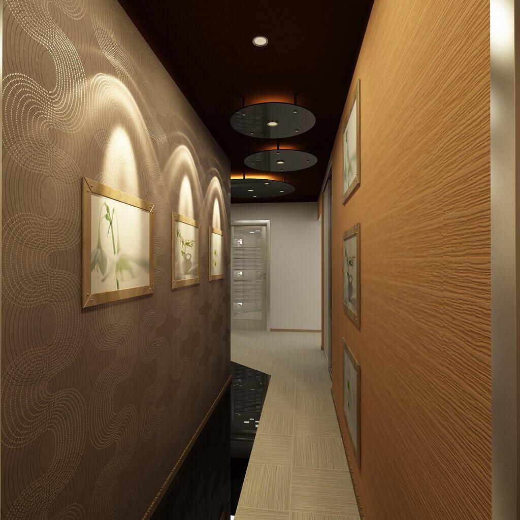 дизайн длинного узкого коридора в квартире фото реклама